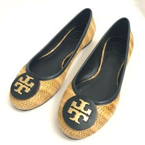 Tory Burch Reva Raffia Straw Woven Flats shoes